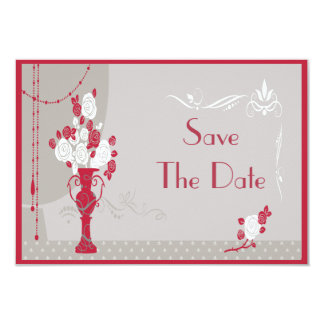Art Deco Red & White Roses Wedding Save the Date 9 Cm X 13 Cm Invitation Card
