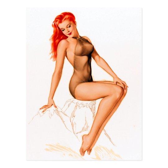 Art Deco Redhead Pin Up Postcard