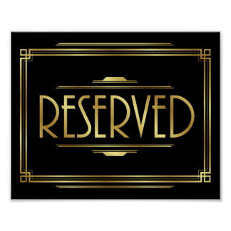 Art Deco RESERVED Sign Print