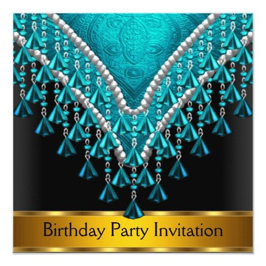 Art Deco Retro Birthday Party Invitation Teal