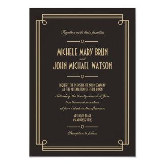 Art Deco Retro Dark Wedding Invitation Knot