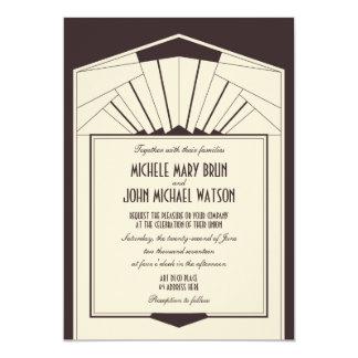 Art Deco Retro Frame Brown Wedding Invitation