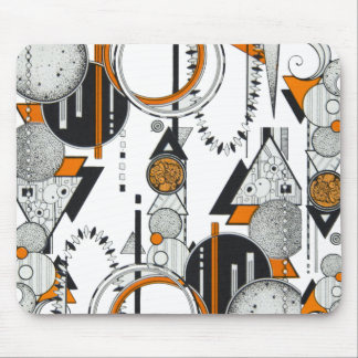 Art Deco Retro Geometric Pattern Orange black 80s Mouse Pad