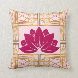 Art Deco Retro Lotus (cerise) Cushion