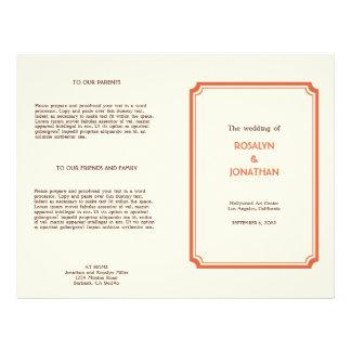 Art deco retro orange brown wedding program 21.5 cm x 28 cm flyer