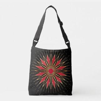 Art Deco Retro Star (red-gold-black) Crossbody Bag