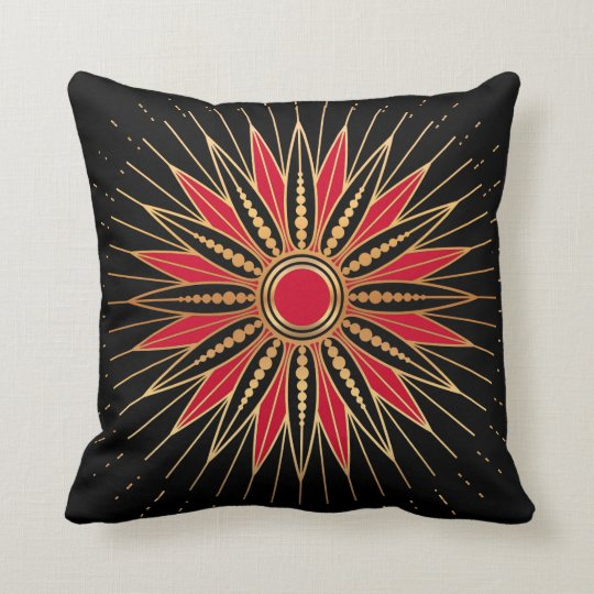 Art Deco Retro Star (red-gold-black) Cushion