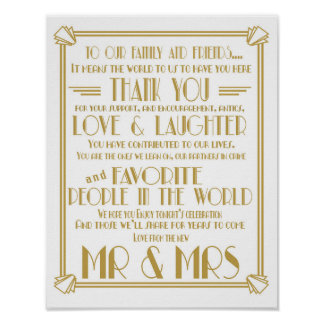 Art Deco Roaring 20's Thank You wedding sign print