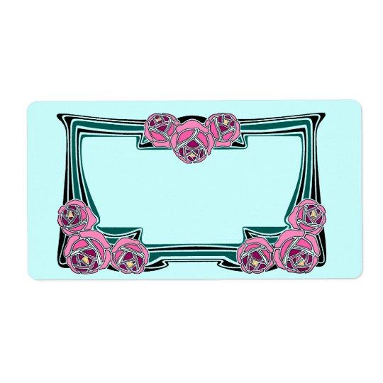 art deco rose panel shipping label