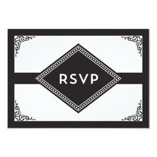 Art Deco RSVP 9 Cm X 13 Cm Invitation Card