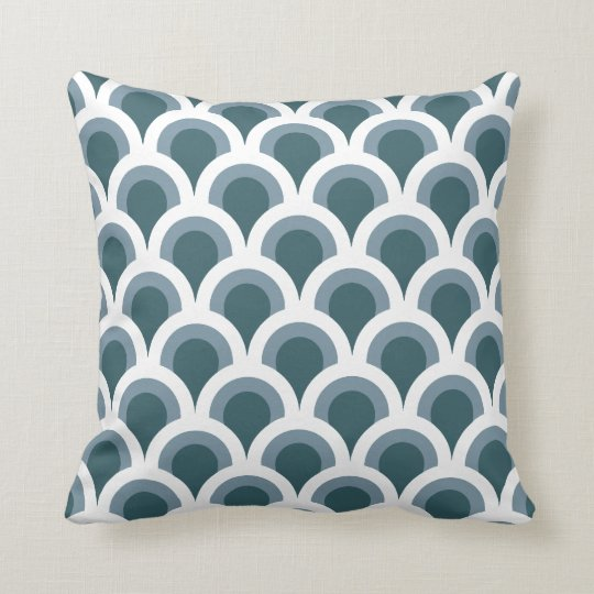 Art Deco Scales in Teal Cushion