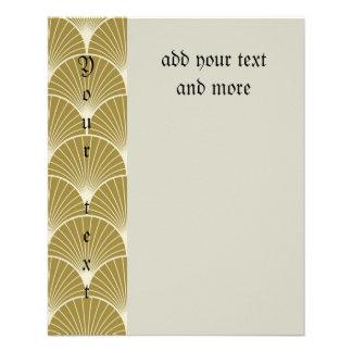 Art deco,scallop,pattern,gold,white,silver,chic, 11.5 cm x 14 cm flyer
