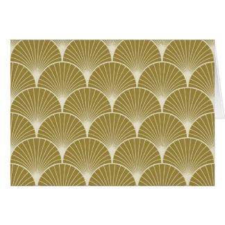 Art deco,scallop,pattern,gold,white,silver,chic, greeting card