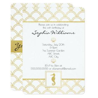 Art Deco Seahorse Gold Vintage Birthday Invitation