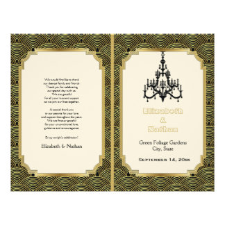 Art Deco seigaiha chandelier gold wedding program 21.5 Cm X 28 Cm Flyer