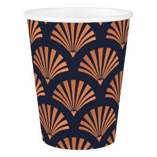 Art Deco Shell Pattern Copper Paper Cups