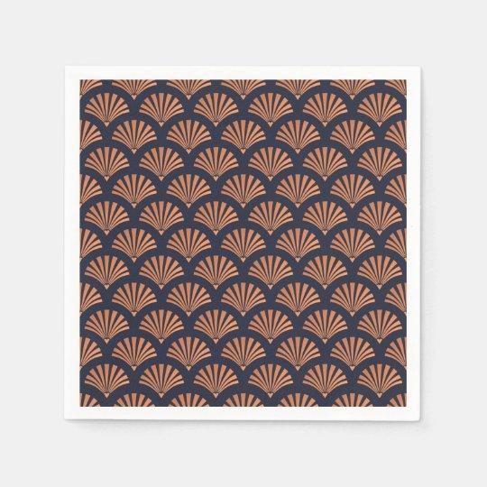 Art Deco Shell Pattern Copper Paper Napkins