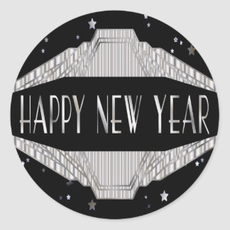 Art Deco Silver and Black Happy New Year Stickers