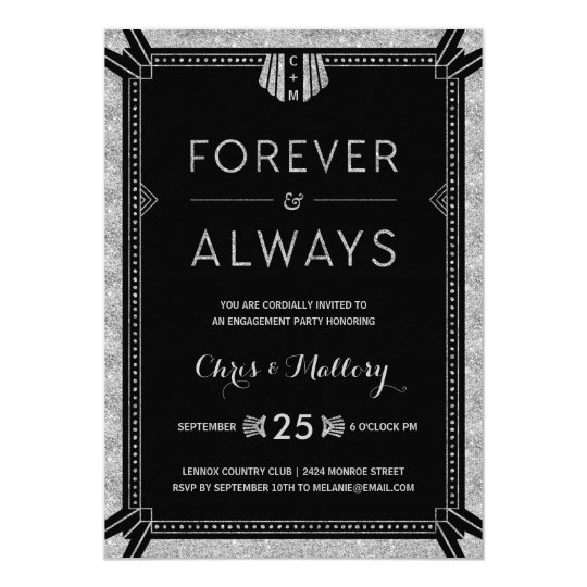 Art Deco | Silver Engagement Party Card