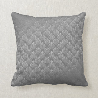 Art Deco Silver Gray Scales Seashells VIP Throw Pillow