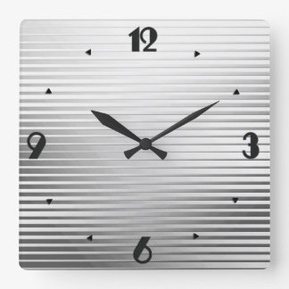 Art Deco Silver Satin Stripes Square Wall Clock