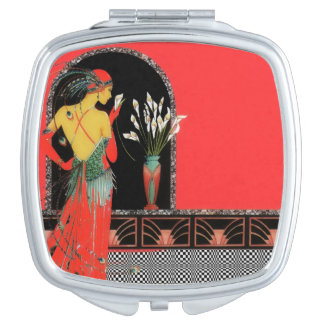 Art Deco Square Compact Mirror