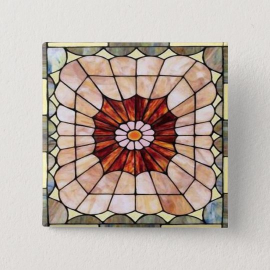 Art Deco Stained Glass 2 15 Cm Square Badge