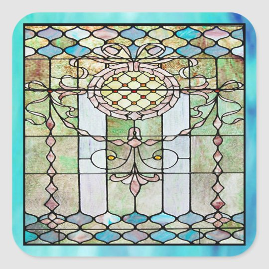 Art Deco Stained Glass 4 Square Sticker