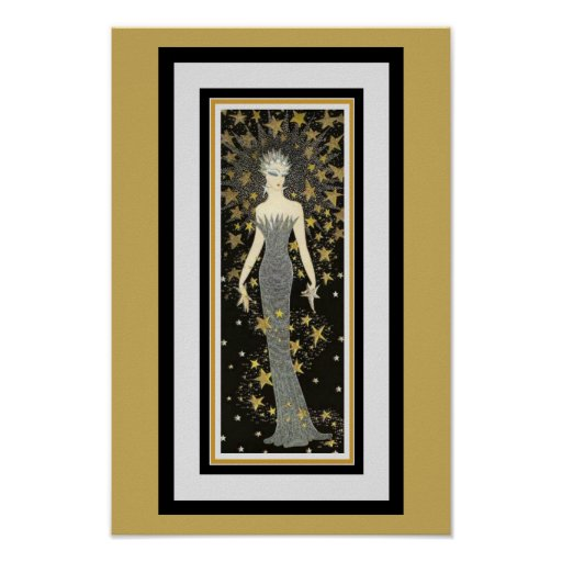 Art Deco Star Lady Poster