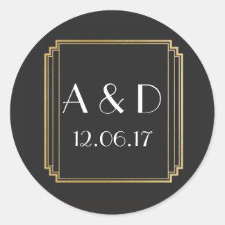 Art Deco Stickers Black Gold Round Label