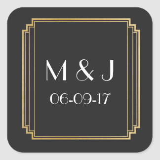 Art Deco Stickers Black Gold Square Favours