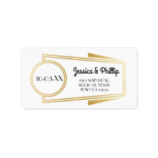 Art Deco Stickers White Gold Address Labels