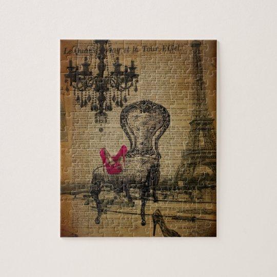 art deco stiletto paris eiffel tower jigsaw puzzle