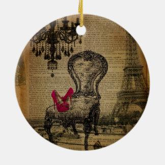 art deco stiletto paris eiffel tower round ceramic decoration