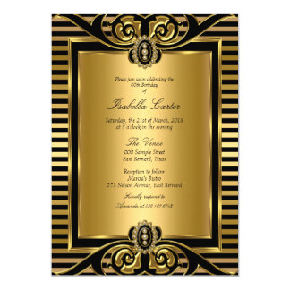 Art Deco Stripe Gold Black Birthday Party 2 Card