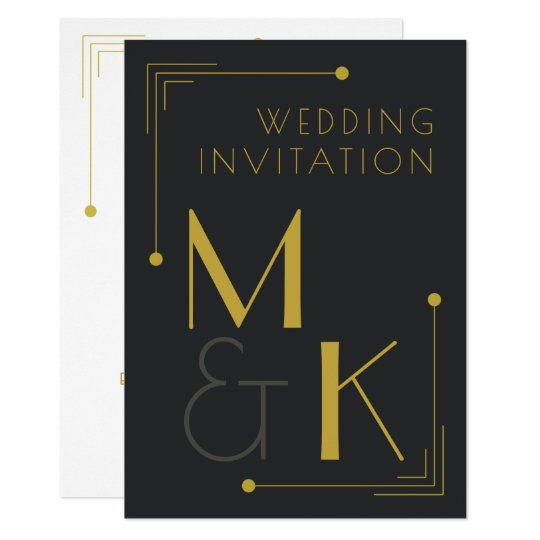 Art Deco Style 1920 Black Gold Wedding Invitations