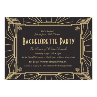 Art Deco Style Bachelorette Party Invitation