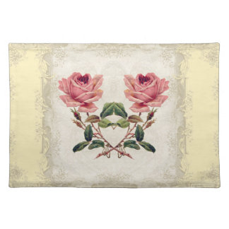 Art Deco Style Baroque Yellow n Cream Vintage Lace Placemat