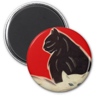 Art Deco Style Black & White Cats On Red 6 Cm Round Magnet