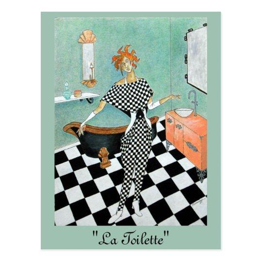 Art Deco-Style Card--Orig. Art/Woman in Bathroom Postcard