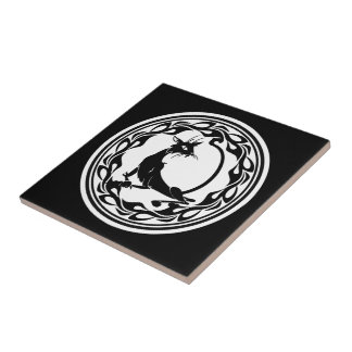 Art Deco Style Cat in Black and White Small Square Tile