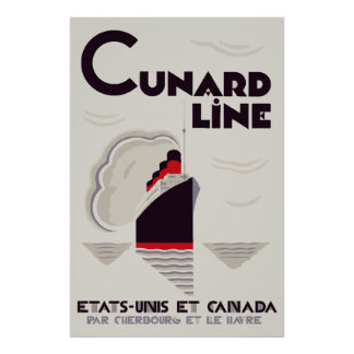 Art Deco Style Cunard Line Posters