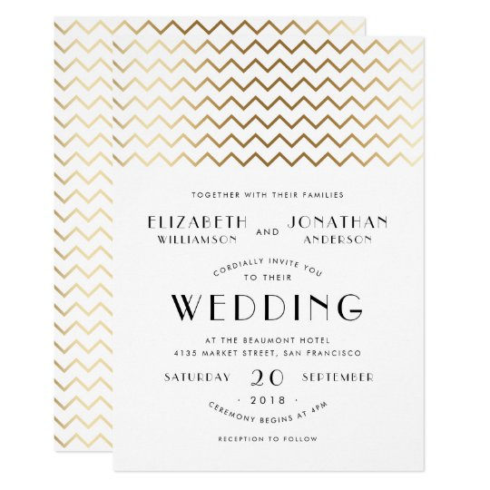 Art Deco Style Gold Chevron & Typography Wedding