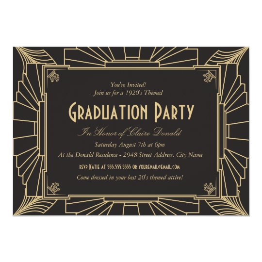 Art Deco Style Graduation Party Invitation