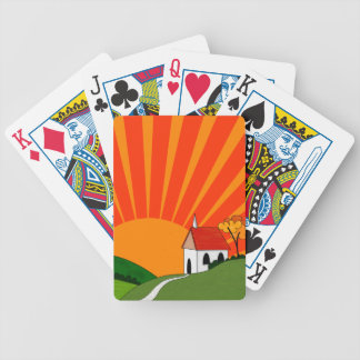 Art Deco Style Landscape with Church Bicycle Playing Cards