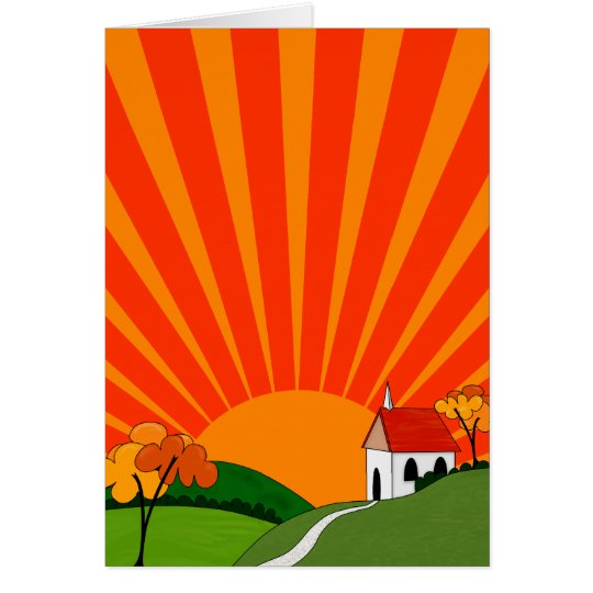 Art Deco Style Landscape with Church Card