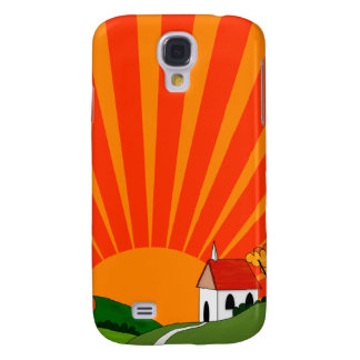Art Deco Style Landscape with Church Galaxy S4 Case
