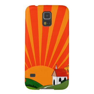 Art Deco Style Landscape with Church Galaxy S5 Covers