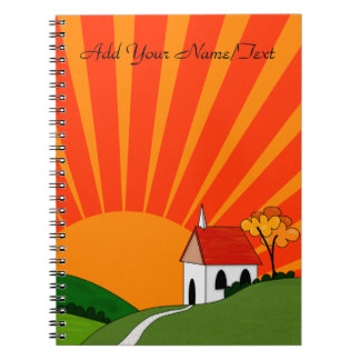 Art Deco Style Landscape with Church Notebook