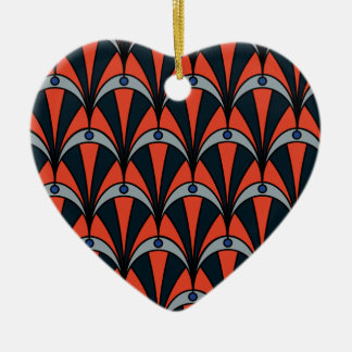 Art deco style pattern ceramic heart christmas ornament